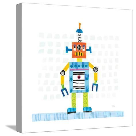 Robot Party II on Squares-Melissa Averinos-Stretched Canvas Print