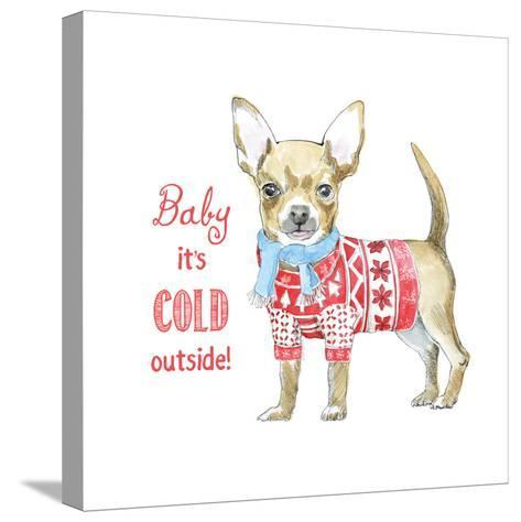 Glamour Pups Christmas I-Beth Grove-Stretched Canvas Print
