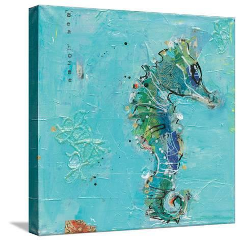 Little Seahorse Blue-Kellie Day-Stretched Canvas Print
