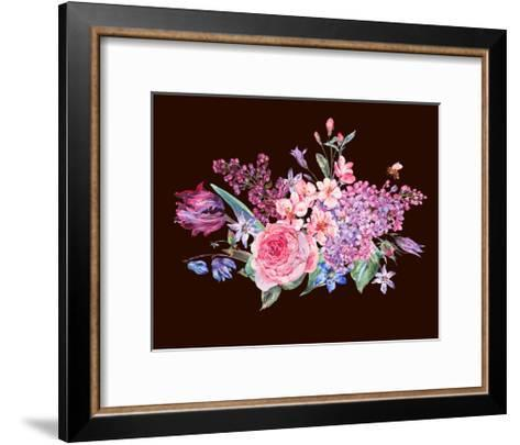 Vintage Garden Watercolor Spring Bouquet with Pink Flowers Blooming Branches of Peach, Pear, Lilacs-Varvara Kurakina-Framed Art Print