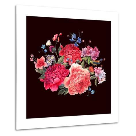 Gentle Decoration Vintage Floral Greeting Card with Blooming Red Peonies Bird and Wild Flowers Wate-Varvara Kurakina-Metal Print