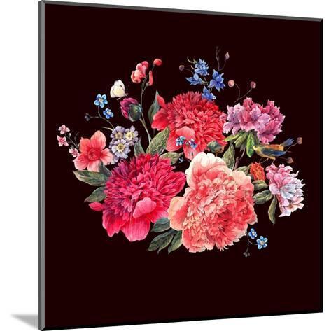 Gentle Decoration Vintage Floral Greeting Card with Blooming Red Peonies Bird and Wild Flowers Wate-Varvara Kurakina-Mounted Art Print