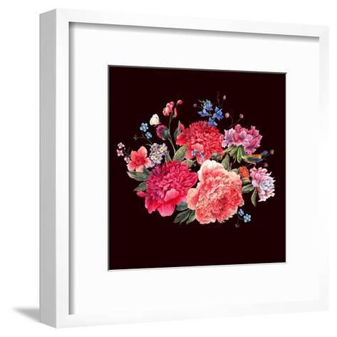 Gentle Decoration Vintage Floral Greeting Card with Blooming Red Peonies Bird and Wild Flowers Wate-Varvara Kurakina-Framed Art Print