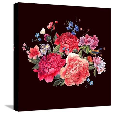 Gentle Decoration Vintage Floral Greeting Card with Blooming Red Peonies Bird and Wild Flowers Wate-Varvara Kurakina-Stretched Canvas Print