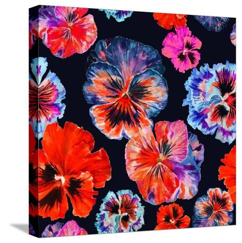 Watercolor Floral Pattern. Colorul Pansies Isolated on Dark Background. Red Blue Flowers-Firsart-Stretched Canvas Print