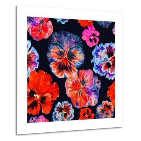 Watercolor Floral Pattern. Colorul Pansies Isolated on Dark Background. Red Blue Flowers-Firsart-Metal Print