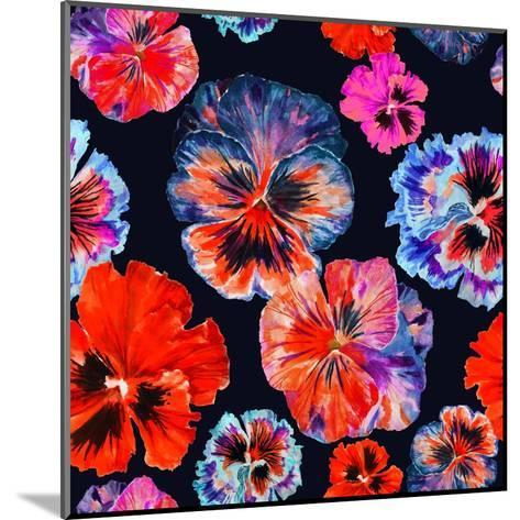 Watercolor Floral Pattern. Colorul Pansies Isolated on Dark Background. Red Blue Flowers-Firsart-Mounted Art Print