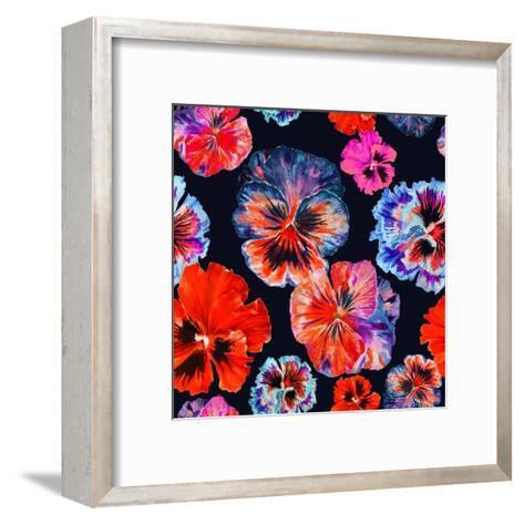 Watercolor Floral Pattern. Colorul Pansies Isolated on Dark Background. Red Blue Flowers-Firsart-Framed Art Print