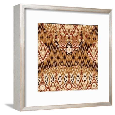 Patchwork Ethnic Bohemian Arabesque Pattern Print. Seamless Zigzag Geometric Ornament Abstract Back-Cosveta-Framed Art Print