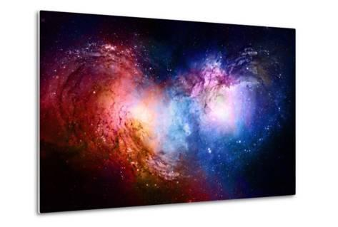 Nebula, Cosmic Space and Stars, Blue Cosmic Abstract Background. Elements of this Image Furnished B- JozefArt-Metal Print