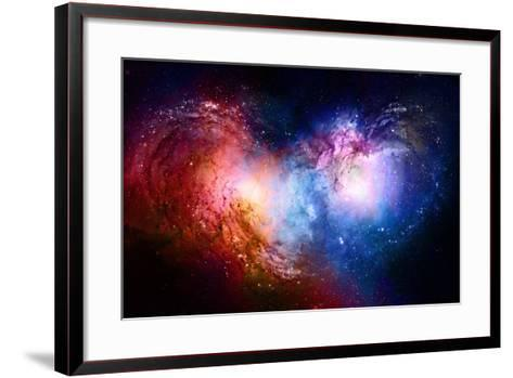 Nebula, Cosmic Space and Stars, Blue Cosmic Abstract Background. Elements of this Image Furnished B- JozefArt-Framed Art Print