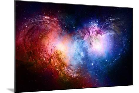 Nebula, Cosmic Space and Stars, Blue Cosmic Abstract Background. Elements of this Image Furnished B- JozefArt-Mounted Art Print