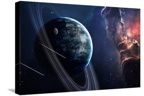 Universe Scene with Planets, Stars and Galaxies in Outer Space Showing the Beauty of Space Explorat-Forplayday-Stretched Canvas Print