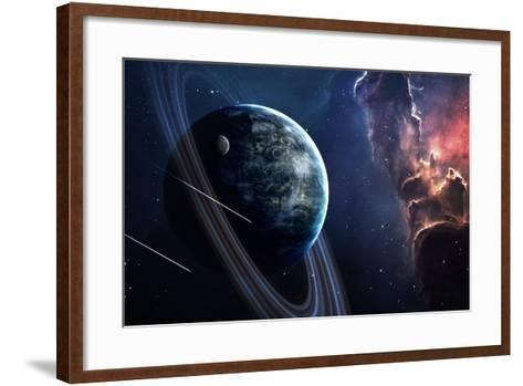 Universe Scene with Planets, Stars and Galaxies in Outer Space Showing the Beauty of Space Explorat-Forplayday-Framed Art Print