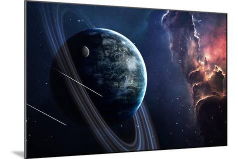 Universe Scene with Planets, Stars and Galaxies in Outer Space Showing the Beauty of Space Explorat-Forplayday-Mounted Art Print