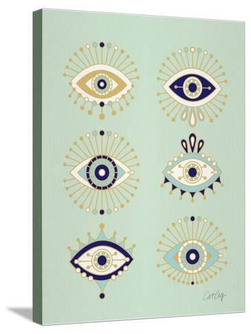 Mint Evil Eyes-Cat Coquillette-Stretched Canvas Print