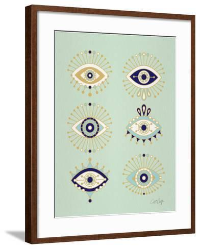 Mint Evil Eyes-Cat Coquillette-Framed Art Print
