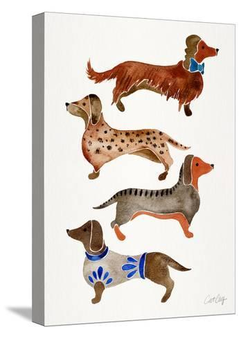 Dachshunds-Cat Coquillette-Stretched Canvas Print