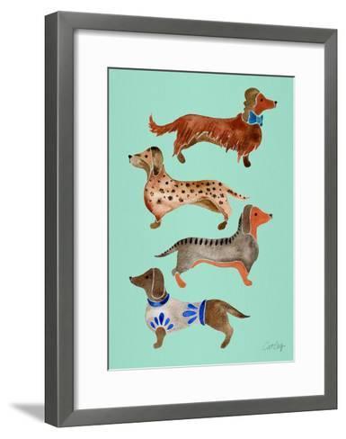 Blue Dachshunds-Cat Coquillette-Framed Art Print