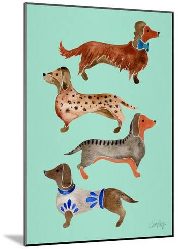 Blue Dachshunds-Cat Coquillette-Mounted Giclee Print