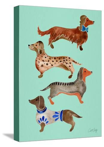Blue Dachshunds-Cat Coquillette-Stretched Canvas Print
