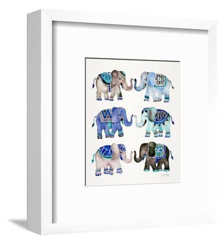 Grey and Blue Elephants-Cat Coquillette-Framed Art Print