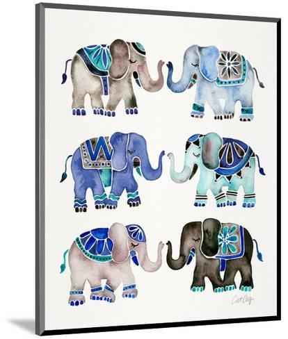 Grey and Blue Elephants-Cat Coquillette-Mounted Giclee Print