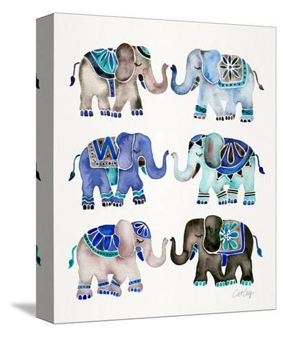 Grey and Blue Elephants-Cat Coquillette-Stretched Canvas Print