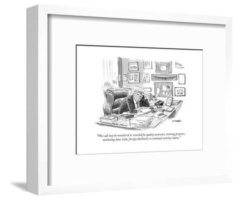 """This call may be monitored or recorded for quality assurance, training pu? - Cartoon-Pat Byrnes-Framed Art Print"