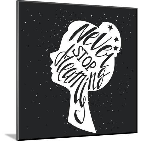 Black and White Hand Drawn Typography Poster Greeting Card or Print Invitation with Girls Head Sil-TashaNatasha-Mounted Art Print