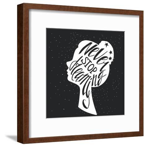 Black and White Hand Drawn Typography Poster Greeting Card or Print Invitation with Girls Head Sil-TashaNatasha-Framed Art Print