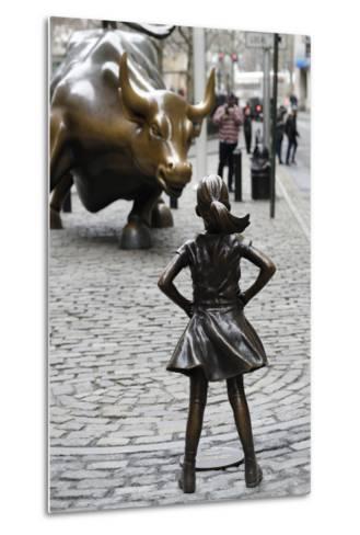 Fearless Girl Wall Street--Metal Print