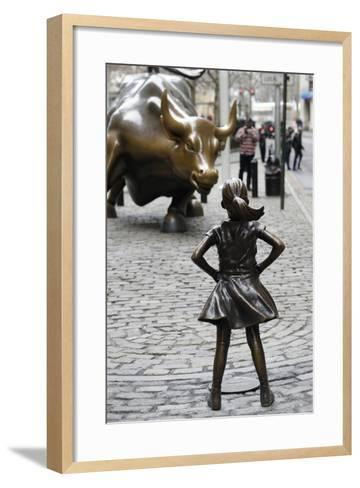 Fearless Girl Wall Street--Framed Art Print