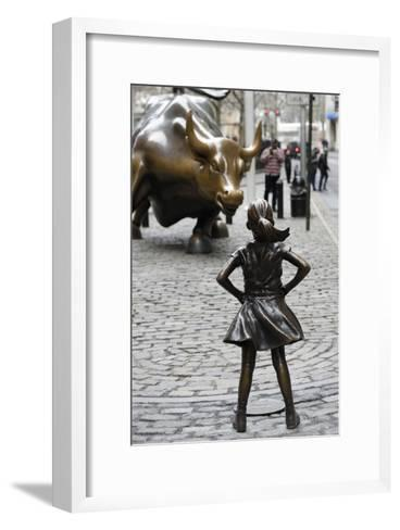 Fearless Girl Wall Street--Framed Art Print