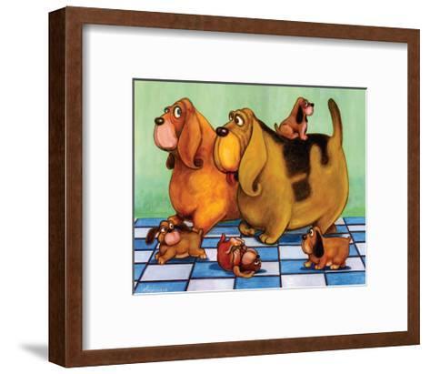 Hounddog Family Picnic-Kourosh-Framed Art Print
