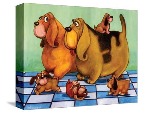 Hounddog Family Picnic-Kourosh-Stretched Canvas Print