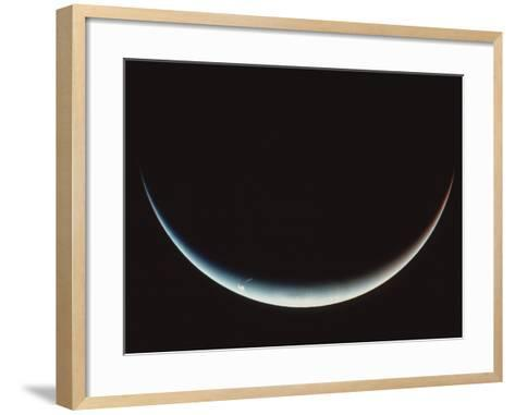 Voyager II Image of a Crescent Neptune--Framed Art Print