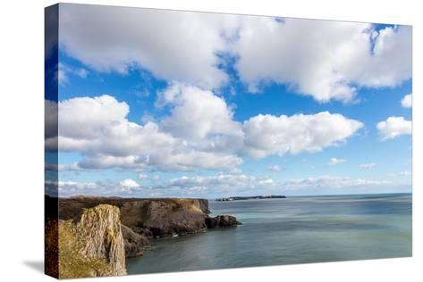 Caldey Island from the Coast Near Tenby, Pembrokeshire, Wales, UK-Derek Phillips-Stretched Canvas Print