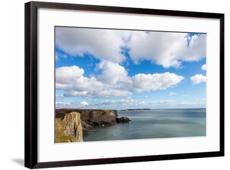 Caldey Island from the Coast Near Tenby, Pembrokeshire, Wales, UK-Derek Phillips-Framed Art Print