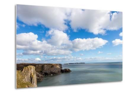 Caldey Island from the Coast Near Tenby, Pembrokeshire, Wales, UK-Derek Phillips-Metal Print