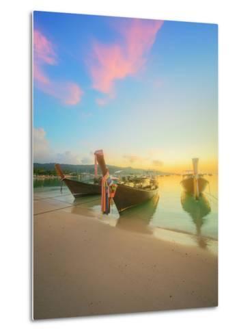 Beautiful Beach with River and Colorful Sky at Sunrise or Sunset, Thailand-Hanna Slavinska-Metal Print