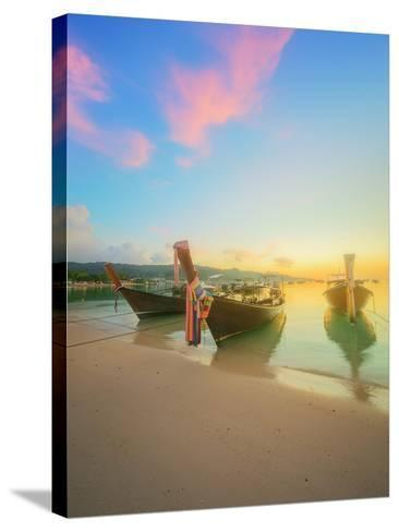 Beautiful Beach with River and Colorful Sky at Sunrise or Sunset, Thailand-Hanna Slavinska-Stretched Canvas Print
