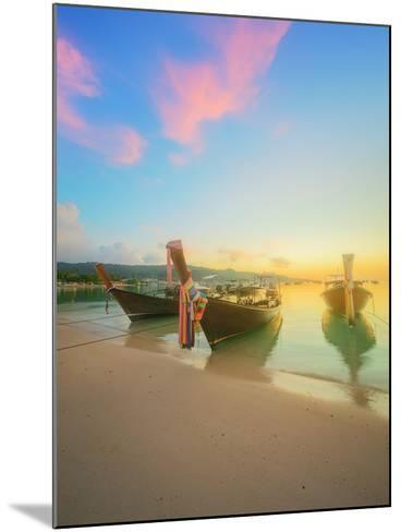 Beautiful Beach with River and Colorful Sky at Sunrise or Sunset, Thailand-Hanna Slavinska-Mounted Photographic Print
