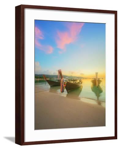 Beautiful Beach with River and Colorful Sky at Sunrise or Sunset, Thailand-Hanna Slavinska-Framed Art Print