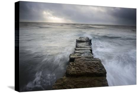 A Wall Leading into the Sea at Lyme Regis, Dorset-Stephen Spraggon-Stretched Canvas Print