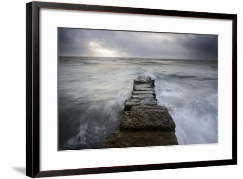A Wall Leading into the Sea at Lyme Regis, Dorset-Stephen Spraggon-Framed Art Print