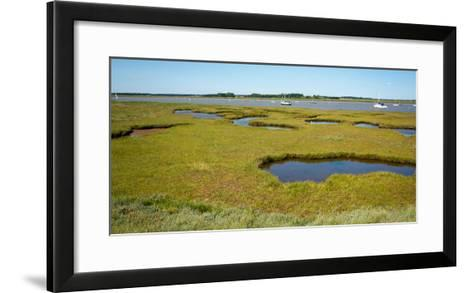 Aldeburgh Marina Suffolk Looking Out across the Wetlands with Pools and Yachts in the Distance-Mike P Shepherd-Framed Art Print