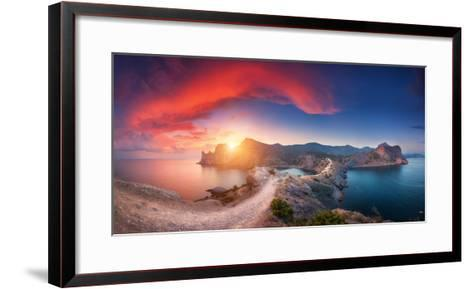Amazing Summer Landscape with Mountains, Sea, Blue Sky, Sun and Beautiful Colorful Red Clouds-Denys Bilytskyi-Framed Art Print