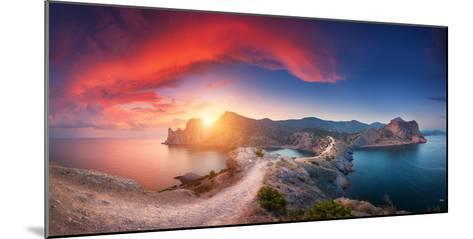 Amazing Summer Landscape with Mountains, Sea, Blue Sky, Sun and Beautiful Colorful Red Clouds-Denys Bilytskyi-Mounted Photographic Print