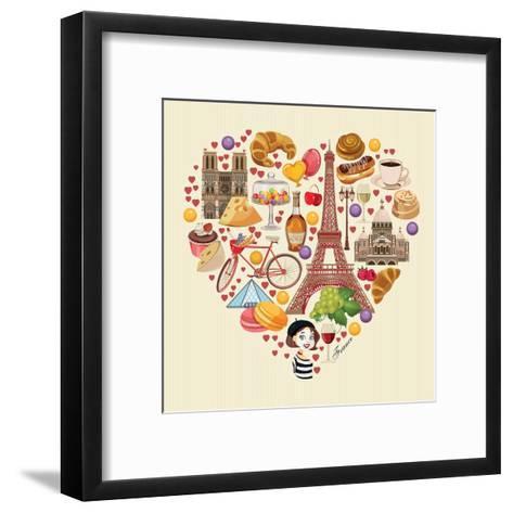 Bonjour Paris. Paris Je Taime - Text in French. Hello Paris. Paris, I Love You!-Tatsiana Tsyhanova-Framed Art Print